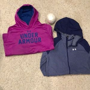 Under Armour sweatshirts size YLG purple and blue